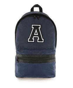Topman | Navy Embroidered Detail Nylon Backpack