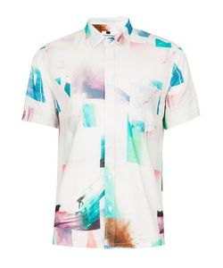 Topman | Multi Photo Print Spliced Short Sleeve Casual Shirt