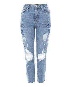 TopShop   Moto Embroidered Raw Hem Straight Leg Jeans