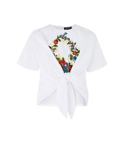 TopShop   Embroidered Knot Front T-Shirt