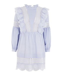 TopShop | Stripe Cutwork Frill Smock Dress