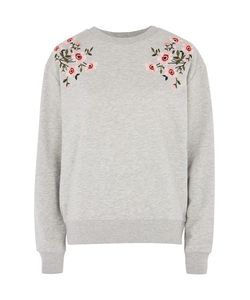 TopShop   Petite Embroidered Sweat Top