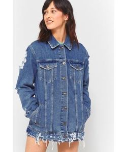 BDG | Medium Wash Long Western Destroyed Denim Jacket