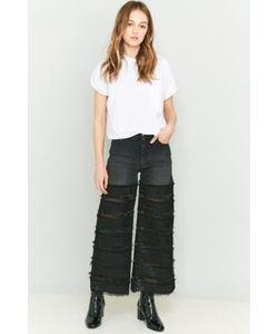 Rodebjer | Aeta Fringe Wide-Leg Cropped Mesh Jeans