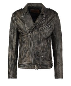 Goosecraft   Perfecto Leather Jacket Sheep Cracker Black