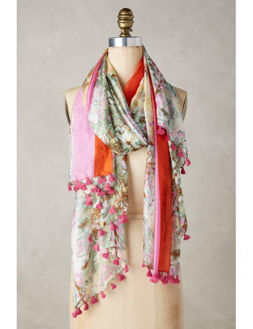 Anthropologie | Women's Pink Silk Gardenry Scarf