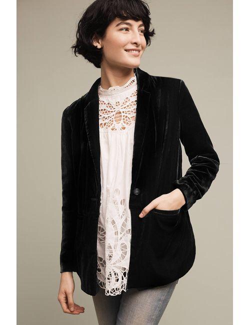 Cartonnier   Women's Black Eve Velvet Blazer