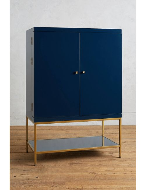 Anthropologie | Women's Navy Lacquered Bar Cabinet