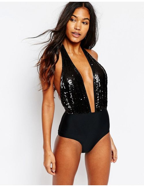 South Beach | Women's Black W/Shi Blk Seq Sequin Plunge Swimsuit
