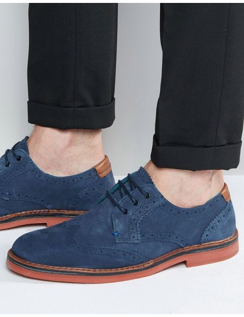 Ted Baker | Men's Dark Blue Reith Suede Brogue Shoes