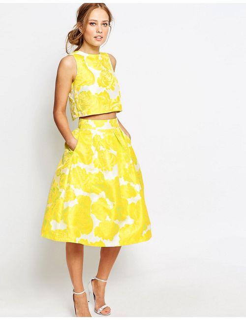 Chi Chi London | Women's Yellow Jacquard Full Midi Skirt Co-Ord