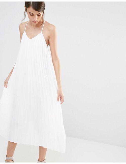 Warehouse   Women's White Pleat Cami Dress Ivory