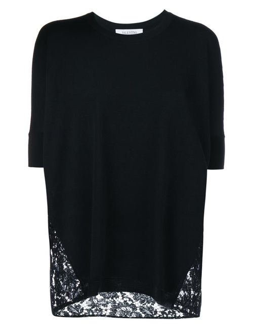 Valentino   Women's Black Knit Top With Lace Back