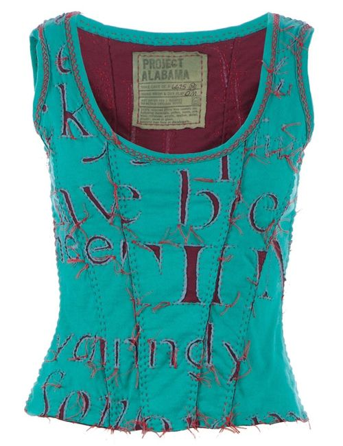 Projet Alabama | Women's Dark Blue Letter Printed Tank Top
