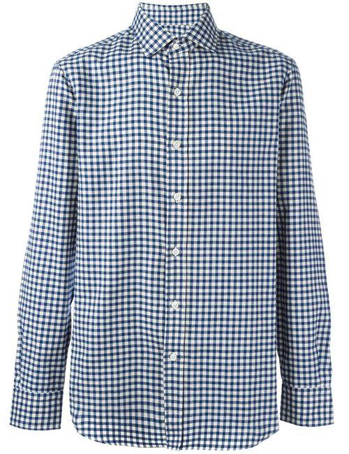 Salvatore Piccolo   Men's Dark Blue Checked Classic Shirt