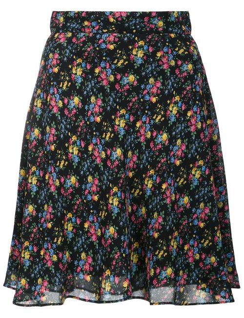 Saint Laurent | Women's Black Prairie Print Skirt 38 Silk/Viscose