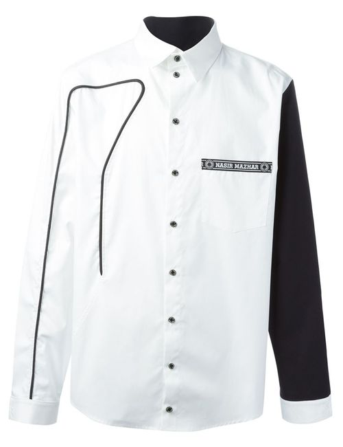 Nasir Mazhar | Men's White Piping Detail Shirt With Contrasting Sleeves