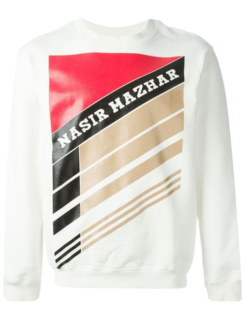 Nasir Mazhar | Men's White Graphic Logo Print Sweatshirt