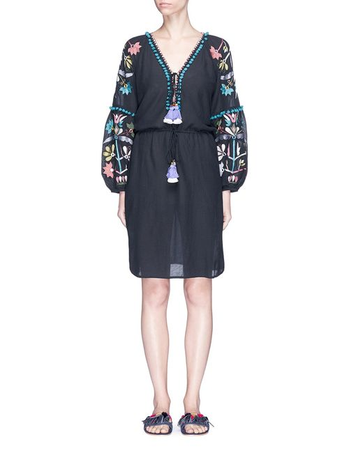 Figue | Women's Blue Victoria Pompom Embroidered Dress
