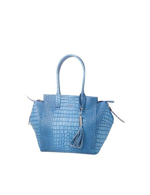 Laurel | Women's Dark Blue Santorini Leather Tote