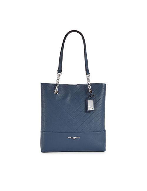 KARL LAGERFELD PARIS   Women's Dark Blue Gigi Chevron-Stitched Leather Tote
