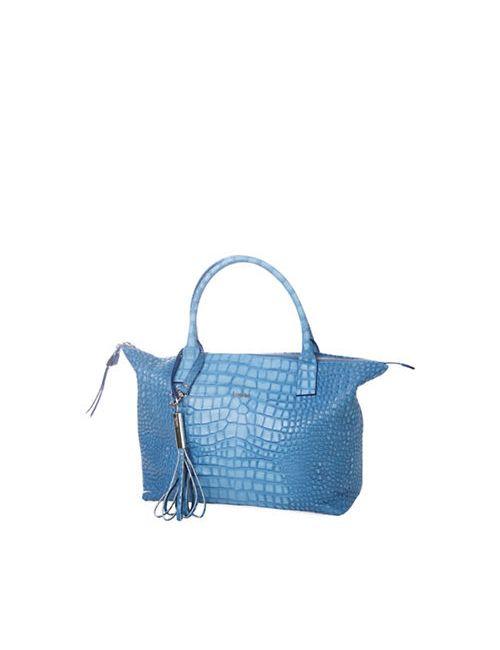Laurel   Dark Blue Santorini Leather Shopper