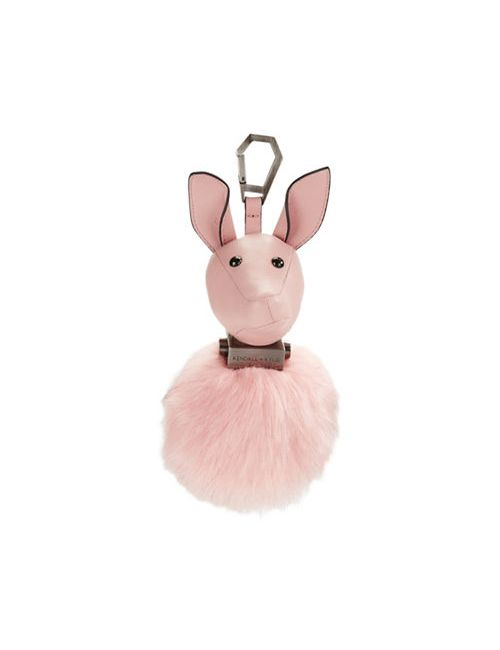 Kendall and Kylie | Women's Rose Cloud Bambi Leather Faux Fur Pom-Pom Keychain
