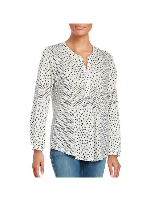 Lucky Brand Plus   Women's White Plus Ditsy Printed Long Sleeve Hi-Lo Blouse