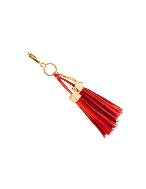 Brian Atwood | Coral Apaige Leather Tassel Key Fob