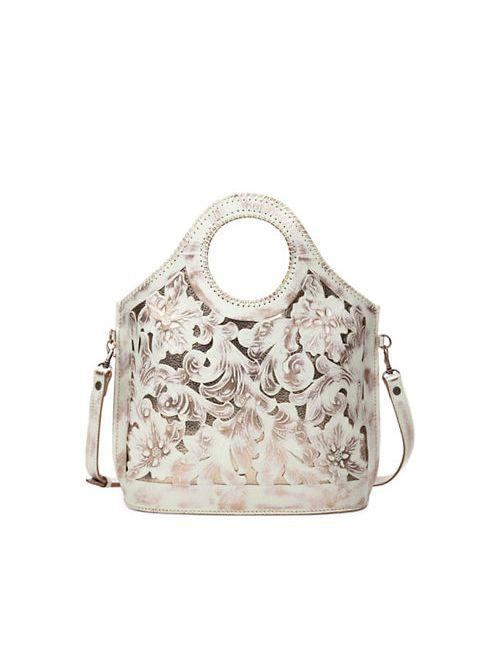 Patricia Nash   Women's White Overdye Moretto Shopper Leather Tote