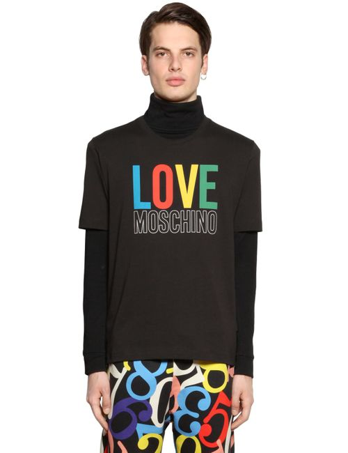 Love Moschino | Men's Black Logo Print Cotton Jersey T-Shirt