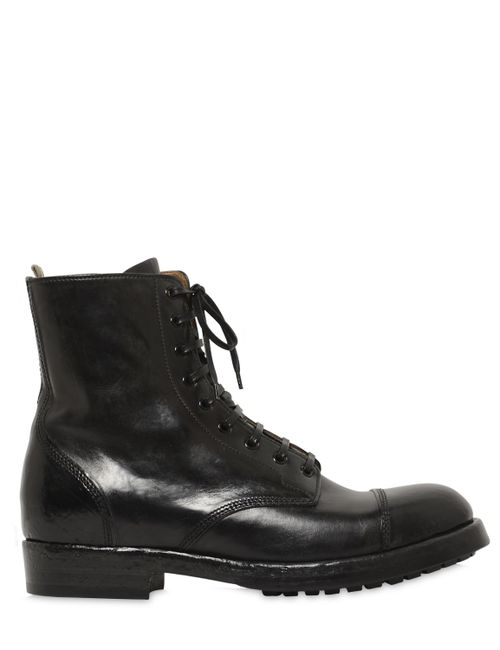 Officine Creative | Men's Black Lace-Up Leather Boots With Side Zip