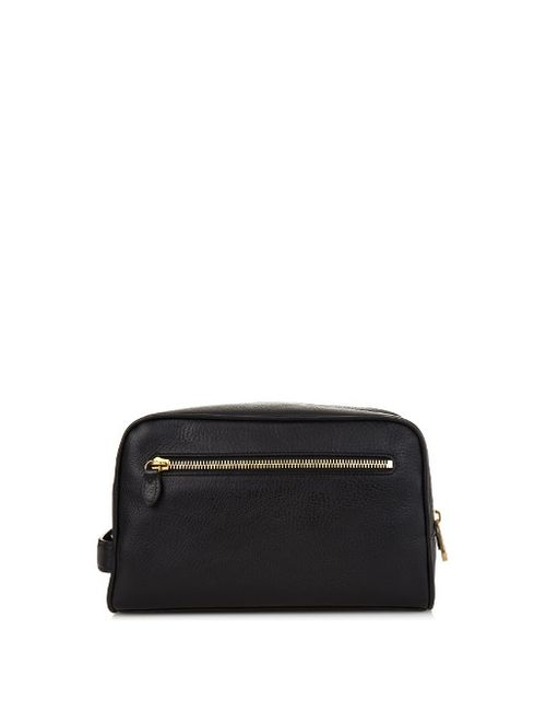 MULBERRY | Men's Black Grained-Leather Washbag