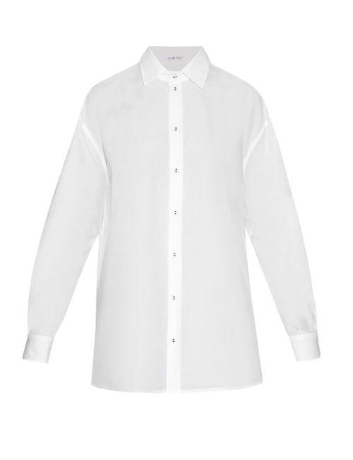 Tomas Maier   Women's Light Cream Loose-Fitting Cotton-Poplin Shirt