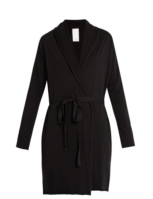 Skin | Women's Black Double-Layer Cotton Wrap Robe