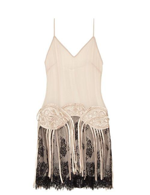 Loyd/Ford | Women's Ivory Fringed Silk-Chiffon Slip Dress