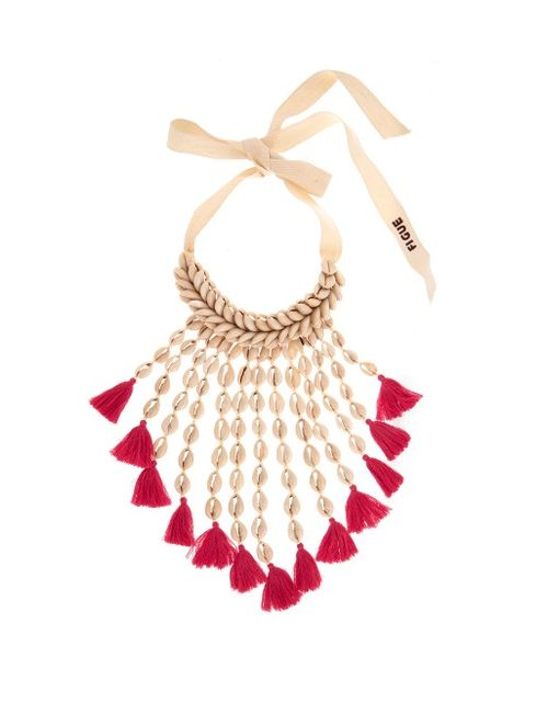 Figue | Women's Pink Sina Shell And Tassel Necklace