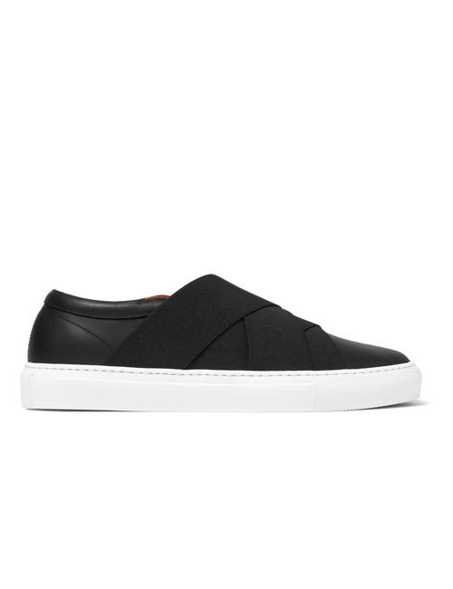 Givenchy | Men's Black Elasticated-Strap Leather Slip-On Sneakers