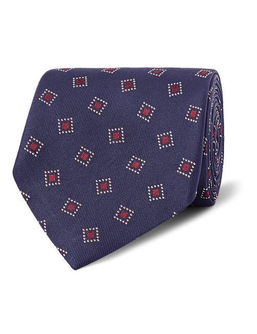 Dunhill   Men's Dark Blue 8cm Woven Mulberry Silk-Twill Tie