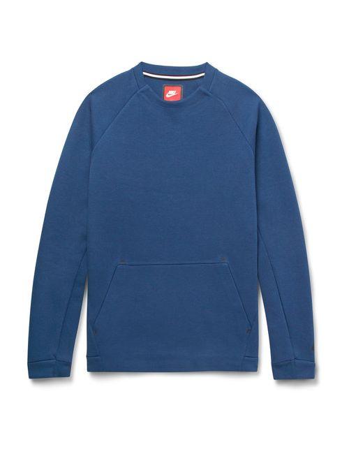Nike   Men's Dark Blue Cotton-Blend Tech Fleece Weathirt