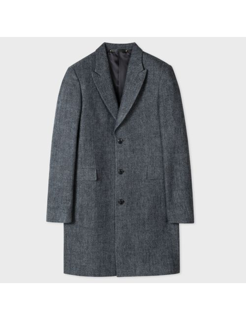Paul Smith | Men's Gray Mens Salt-And-Pepper Wool Peak-Lapel Epsom Coat