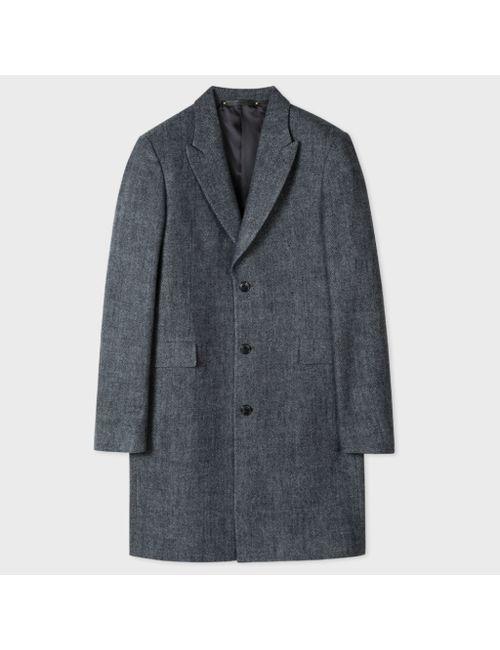 Paul Smith | Men's Gray Mens Salt-And-Pepper Wool Peak-Lapel Epsom Coat