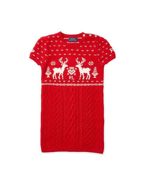 Ralph Lauren   Women's Red Reindeer Ran Sweater Dress
