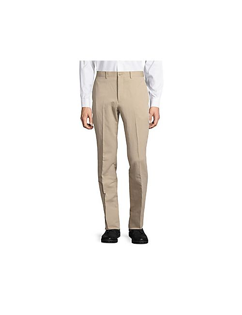 Michael Kors | Men's Tan Cotton-Blend Flat-Front Pants