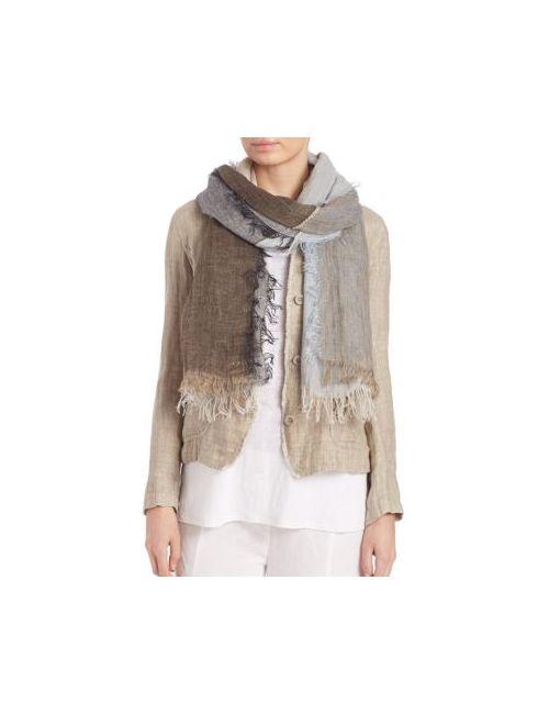 Eileen Fisher | Women's Natural Linen Cotton Grid Scarf