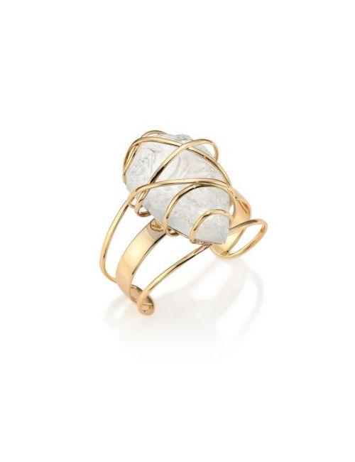 Alexis Bittar | Women's Golden Miss Havisham Caged Rock Crystal Cuff Bracelet