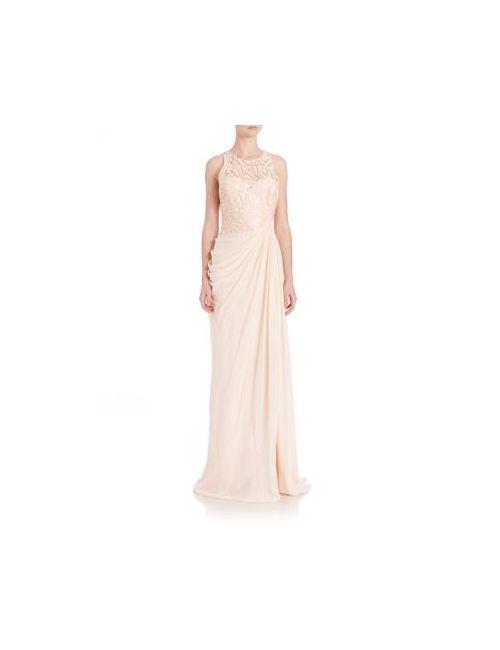 Badgley Mischka | Women's Blush Draped Sequin Lace Gown