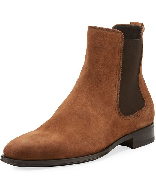 Suede Chelsea Boot Salvatore Ferragamo                                                                                                              brown color
