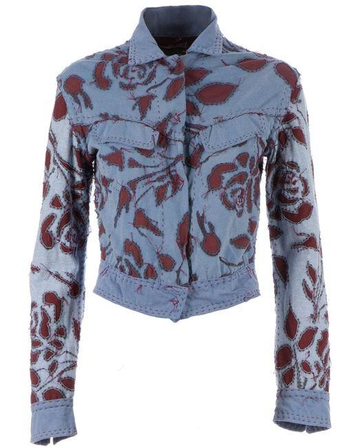 Projet Alabama   Women's Dark Blue Appliquéd Jacket Large
