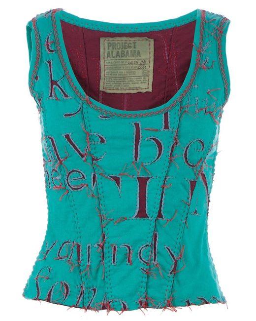 Projet Alabama | Women's Dark Blue Letter Printed Tank Top